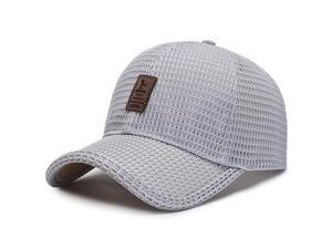 Mens Mesh Baseball Cap Breathable Outdoor Sun Hat Summer Solid Sports Snapback Trucker Cap