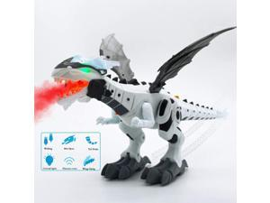 Mist Spray Dinosaur Robot Toy for Kids - Walking Dinosaur Fire Breathing Water Spray Mist with Red Light & Realistic Green/White (Color May Vary)
