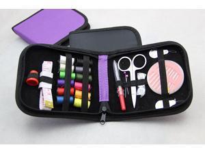 Intsupermai Mini Home Black Sewing Kit Travel Thread Threader Needle Tape Measure Scissor Sewing
