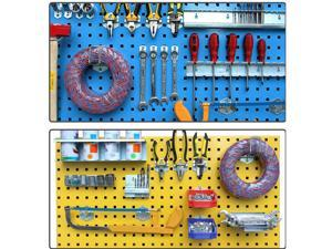 Intsupermai Tool Hanging Board Steel Wall Mounted Kit Display Organizer Peg Board with 10 Hooks