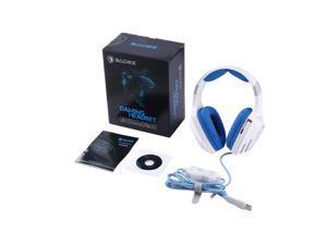 SADES Reinforced Headband USB Stereo Shocking Sound Headphone Gaming Headset,White & blue