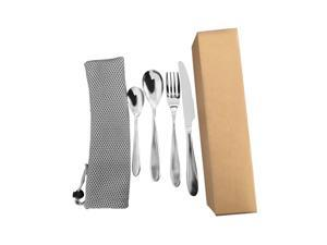 4Pcs Stainless Steel Tableware Dinnerware Set Knife Fork Spoon Teaspoon,Silver,4 pcs
