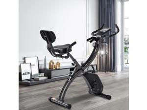 Folding Exercise Bike - 8 Levels Resistance Adjustments with Four Expansions Degree