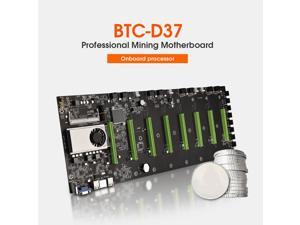 BTC-D37 Intel Celeron 847 Motherboard With 8 * PCIe X16 GPU Slot For Bitcoin Crypto Etherum Mining - Black