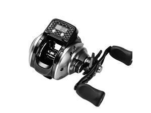 Fishing Reel With Digital Display 6.3:1 16+1 Ball Bearing Low Profile Line Counter Pesca Reel Fishing Tool Accessories,14*12cm,black