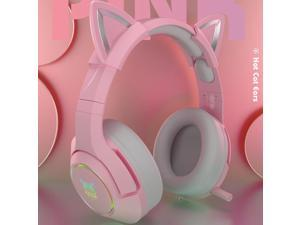 K9 Wired Gaming Headset Head-mounted Games Cute Girls Wired Computer Headsets Adjustable Head Beam Soft Earmuffs,19.5 * 10 * 23 cm,pink