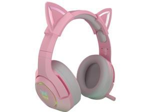 K9 Wired Gaming Headset Head-mounted USB Games Cute Girls Cute boy, cospaly, Wired Computer Headsets Adjustable Head Beam Soft Earmuffs,19.5 * 10 * 23 cm,pink