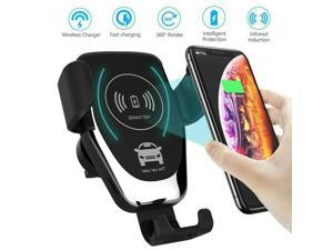 Car Phone Mount Wireless Charger 10W/7.5W/5W,  Auto-Clamping Car Phone Mount Air Vent Phone Holder Compatible with iPhone 8/X/XS/XR, Samsung Galaxy S6/S7/S7 Edge/S8/S8 Plus/ /S9/S9 Plus