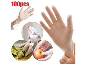 Large Size 100 Pcs Disposable Gloves PVC Vinyl Nitrile Gloves Transparent Powder-Free Latex-Free Use for Medical Dental Checks Kitchen Cooking Baking Cleaning Safety Food Handling Salon