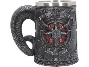 Baphomet Mug, Stainless Steel Medieval Mug Tankard for Beer Coffee, Satanism Occultism Sabbath Goats Pentagram Tankard, Creative Mugs for Beer Wine Coffee Juice Drink Home Decor