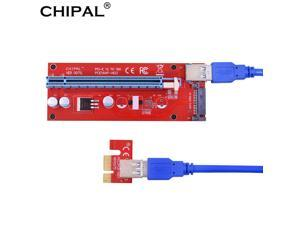 CHIPAL Red VER007S 60CM PCI-E Riser Card PCIe 1X to 16X Extender + USB 3.0 Cable / 15Pin SATA Power for BCD Bitcoin Miner