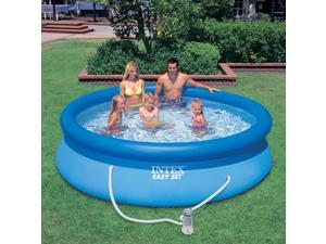 Inflatable Pool, 10 feet x 30 inches, easy to place on the ground, inflatable family swimming pool and filter pump and three-piece pump set, Suitable for family, ground, backyard, outdoor