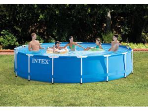 Round metal frame above ground swimming pool, suitable for family, green grass garden, beach swimming pool, pump with swimming pool, filter 366*76cm/12*2.6Ft