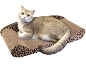 Large Size Cat Scratcher Cardboard Sofa, 24 Inch Kitten Scratching Lounge Bed Corrugated Board Posts Kitty Adult Cat Scratch Pad Toy with Catnip