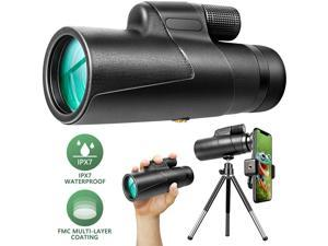 12x50 Monocular Optical Zoom HD BAK4 Prism FMC IPX7 Waterproof Monocular Telescope with Smartphone Adapter Tripod Suitable for Adult Children Gift Bird Hunting Camping Travel Wildlife