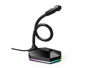 USB Computer Microphone, Plug & Play Desktop Omnidirectional Condenser RGB USB Mic Gooseneck Design for PC, Laptop, Mac, Recording, Dictation, YouTube, Gaming, Streaming, Skype