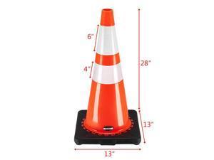 "Oshion (6 pcs) 21"" PVC American Road Cone Black Chassis Reflective Cone Warning Cone 36x36x70cm"