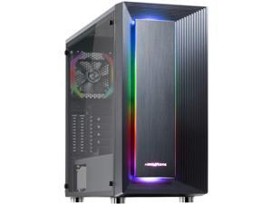 ABKONCORE C510S ATX Mid-Tower PC Gaming Case with Pre-Installed 120mm ARGB Fans, Full Side Tempered Glass, Front Square ARGB LED, Two 3.0 USB Ports, Magnet Dust Filter, Water-Cooling Ready