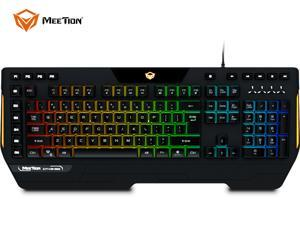 MeeTion RGB Gaming Keyboard USB Wired Keyboard, Crater Architecture Backlit Computer Keyboard with 16 Independent Multimedia Keys, 25 Keys Anti-ghosting, Splash-Proof, Ideal for PC/Mac Game, Black