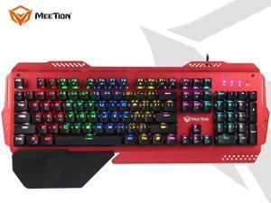 MeeTion Multiple Color Rainbow LED Backlit Large Size usb Wired Mechanical Feeling Multimedia Gaming Keyboard,Office Keyboard For Working or Primer Gaming,Office Device