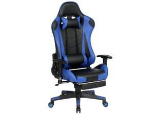 Gaming Chair with Adjustable Massage Lumbar Pillow,Retractable Footrest and Headrest -Racing Ergonomic High-Back PU Leather Office Computer Executive Desk Chair(3 Colors)