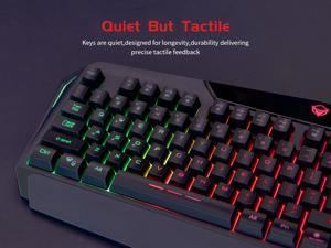 MeeTion C510 Wired Gaming Keyboard and Mouse Combo Rainbow Backlit Gaming Keyboard with Wrist Rest and 4 Color Backlit Gaming Mouse 2400 DPI for Windows PC Gamers (Black)