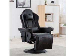 Gaming Recliner Chair Racing Style PU Leather Gaming Chair Ergonomic Adjusted Reclining Office Desk Chair Home Theater Single Sofa Chair with Footrest Headrest and Lumbar Support (Black)