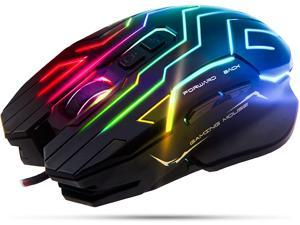 Meetion GM22 RGB Gaming Mouse, Wired Programmable Ergonomic USB Mice, 4800DPI, 6 Buttons & 7 Color Backlit for Laptop PC Gamer Computer Desktop (Black)