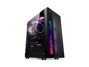 IFORGAME ATX Mid Tower Computer Case, High-Airflow Full-metal Mesh Design, Transparent Side Panel, Water-Cooling Ready, Magnetic Dustproof Filter, USB 3.0 Port,  Compact PC Case without Case Fan