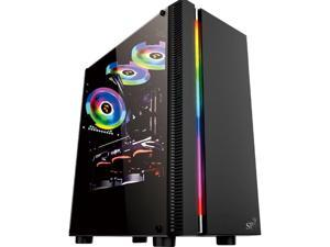 ATX Mid Tower Computer Case, High-Airflow, RGB Strip, Transparent Side Panel, Water-Cooling Ready, Magnetic Dustproof Filter, USB 3.0 Port,  Compact PC Case without Case Fan