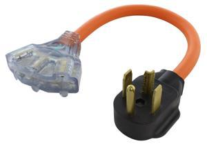 1.5FT 30A 4-Prong Dryer Plug to (3) NEMA 6-15/20 Tri-Outlets with Power Indicators