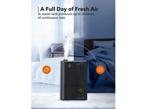 TaoTronics Humidifiers, 4L Cool Mist Ultrasonic Humidifier for Bedroom Home Large Room Baby Room, Quiet Operation, LED Display with Humidistat, Waterless Auto Shut-off (1.06 Gallon, US 110V