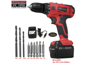 Toolman 21V Cordless Drill Kit 2-Speed 11 pcs Drill Set for Heavy Duty with Charger