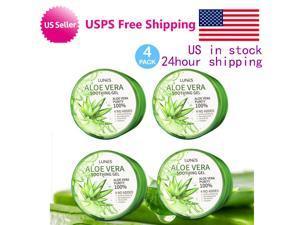 4Pack LUNES 100% Purity Aloe Vera Moisturizing Soothing Gel 10.58fl oz. 300ml