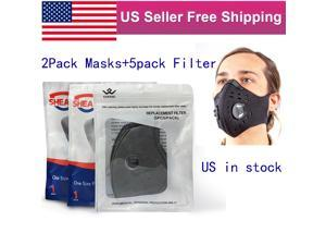 (Total 7Pack)2Pack Outdoor Double Valve Neoprene Sport Face Masks Mouth Cover +5Pack Filters US in Stock Fast Shipping