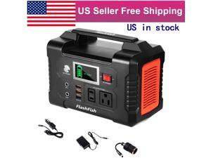 200W Portable Power Station FlashFish 40800mAh Solar Generator with 110V AC Outlet/2 DC Ports/3 USB Ports, Backup Battery Pack Power Supply for CPAP Outdoor Advanture Load Trip Camping Emergency