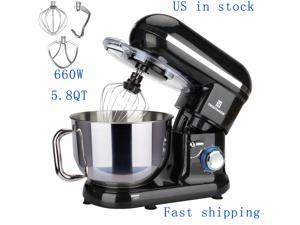 5.8QT 6 Speed Stainless Steel Mixing Bowl Electric Stand Meat Egg Beater Food Mixer US in Stock Fast Shipping Black color