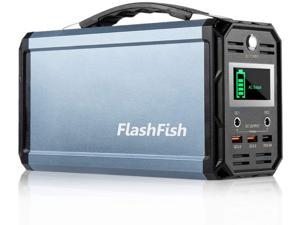 300W Solar Generator FlashFish 60000mAh Portable Power Station Camping Potable Generator CPAP Battery Recharged by Solar Panel/Wall Outlet/Car, 110V AC Out/DC 12V /QC USB Ports for CPAP Camp Travel