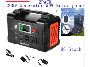 2Pack-200W Portable Power Station 40800mAh Solar Generator and 50W 18V Solar Panel  Compatible with Portable Generator, Smartphones, Tablets US in Stock Fast Shipping