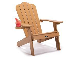 Adirondack Chair Backyard Outdoor Furniture Painted Seating with Cup Holder All-Weather and Fade-Resistant Plastic Wood for Lawn Patio US in Stock Fast Shipping