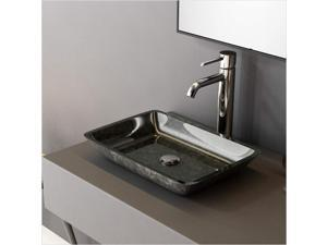 F&R Glass Vessel Bathroom Sinks Modern Tempered Glass Vessel Bowl Sink, Rectangular Bathroom Sinks Dark Gray Tempered Glass Vessel,Top Mount Bathroom Sinks Above Counter US in Stock Fast Shipping