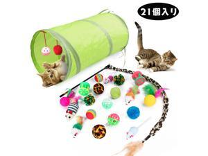 21pcs/set Cat Toys Tunnel Ball Mouse Feather Teaser Kitten Toys Assortments for Cats Puppy Kitty
