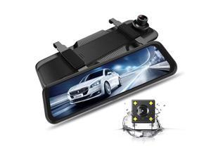10'' Full Color Touch Screen 2 Lens Front Rear Dual Record Mirror Dash Camera with Night Vision Cycle Recording & Parking Monitor
