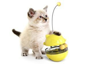 Pet Toys Asvert 4 in 1 Interactive Cat Dog Tumbler Toys,Food Dispenser IQ Ball for Chasing Playing Eating,Automatic Spinning Cat Dog Toy Ball