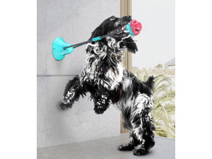 Dog Chew Double Suction Cup Tug of War Toy Pet Aggressive Chewers Rope Puzzle Toothbrush Multifunction Molar Bite Interactive Squeaky Toys Ball with Teeth Cleaning and Food Dispensing Features
