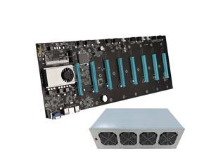 BTC-S37 Miner Motherboard CPU Set 8 Video Card Slot DDR3 Memory Integrated VGA Low Power, 8 GPU Complete Miner Rig, Mining Machine System for Crypto Coin Currency Mining, GPU Miner