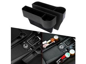 2x Car Seat Gap Catcher Organizer Storage Box Pocket w/ Cup Holder Side Black