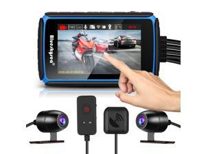 Blueskysea DV988 Motorcycle Dash Cam 1080p 30fps Dual Lens Wide Angle 140 Degree Motorcycle Recording DVR with 4'' IPS Touch Screen Waterproof IP66 Loop Recording with GPS Mode
