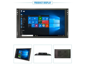 """14"""" HD 1920x1080 IPS LCD Touchscreen Monitor Screen Input Audio Video Display for PC Computer Camera DVD Security CCTV DVR Home Office Surveillance with BNC Cable"""