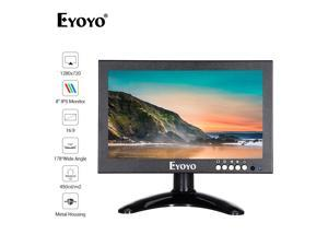 Eyoyo 8 inch 16:9 HDMI Monitor,Portable 1280X720  High-Resolution IPS Full View Display Screen Support  HDMI/VGA/AV/BNC/SPEAK Input Built-in Speakers  Security Raspberry pi Computer Drone Microscope